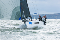 J/88 sailing fast at Hamble Winter Series in the United Kingdom