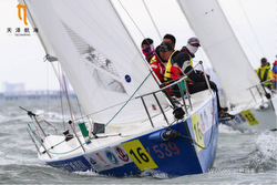 J/80 racing upwind off Xiamen, China