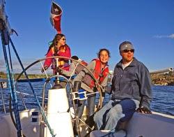 J/105 family sailing on Chilean lake