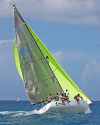 J/105 sailing reach at Barbados sailing week