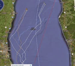 J/105 tracks in Mackinac Race