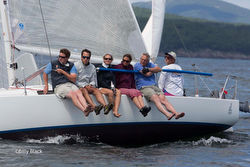 J/80 sailing upwind on Penobscot Bay