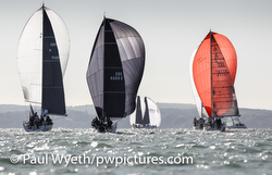 J/88s sailing Hamble Winter Series on Solent, England