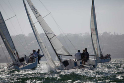 J/70s sailing upwind at Yachting Cup