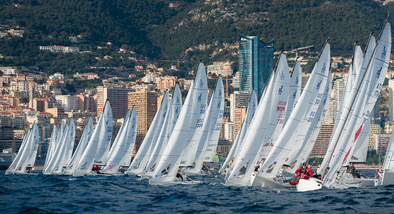 J/70 sailboats- starting off Monaco
