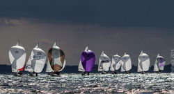 J/24s sailing on sunlit seas under spinnaker