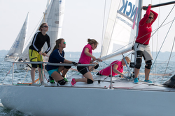 J/24 women's team sailing Worlds in Germany