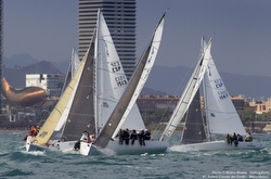 J/80 sailing Spanish Nationals off Barcelona, Spain
