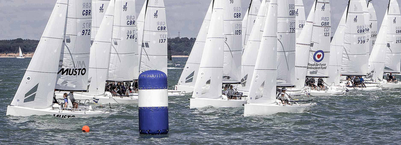 J/70 sailing off Cowes, England