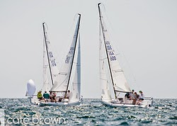 J/70s sailing upwind off Newport