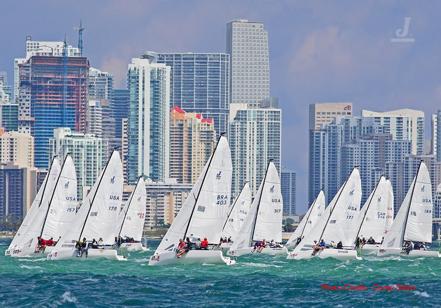J/70s sailing off Miami, Florida