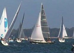 J/36 sailing Round Island Race on Solent- Cowes, England