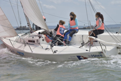 J/80 women's sailing team at French Sailing League