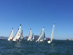 J/22s sailing women's match race clinic