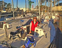 J/22 sailor Nicole Breault ready for Three Bridge Fiasco race- San Francisco Bay