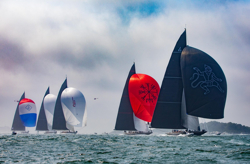 J/Class yachts sailing Worlds off Newport