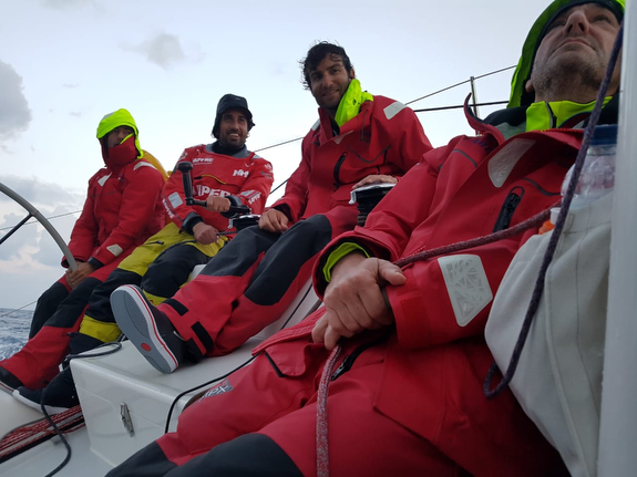 J/122E ANITA crew on rail- Rolex Middle Sea Race