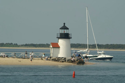 Nantucket Harbor lighthouse finish line