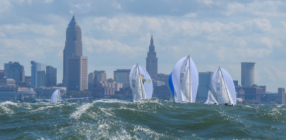 J/70s sailing fast off Cleveland, OH