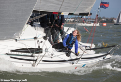 J/88 woman sailor going fast