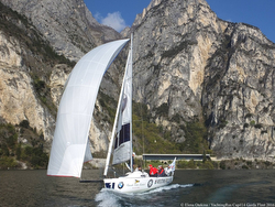 J/80 sailing on Lake Garda, Italy- Russia Yachting Cup
