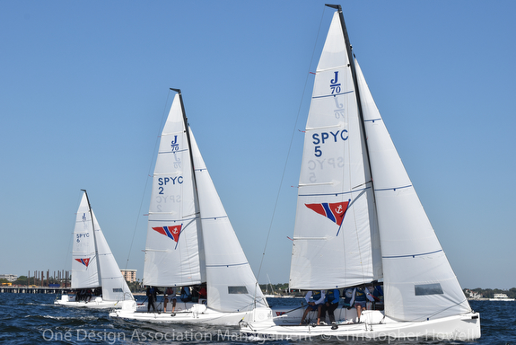 J/70s sailing U.S. Youth Nationals off St Petersburg, FL