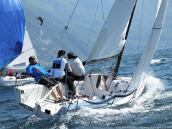 J/70s sailing upwind on Lake Garda, Italy- Russia Cup