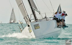 J/111 slicing upwind off Key West