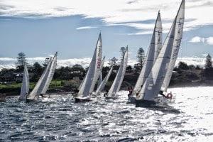 J/24 sailboats- sailing off Sydney, Australia