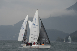J/24s sailing on Lake Como, Italy