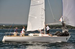 J/27 one-design sailboat off Toronto