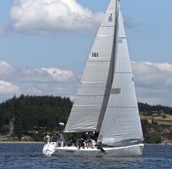 J/109 sailing upwind- Whidbey Island Race Week