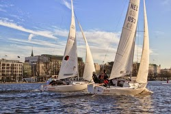 J/22 sailboats- sailing on Alster Lake, Hamburg, Germany