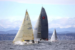 J/27 sailing to win in Three Tree Point race
