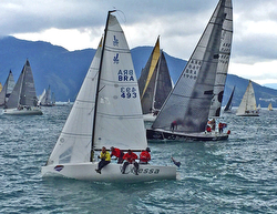 J/70 starting at Ilhabela Race Week off Brazil