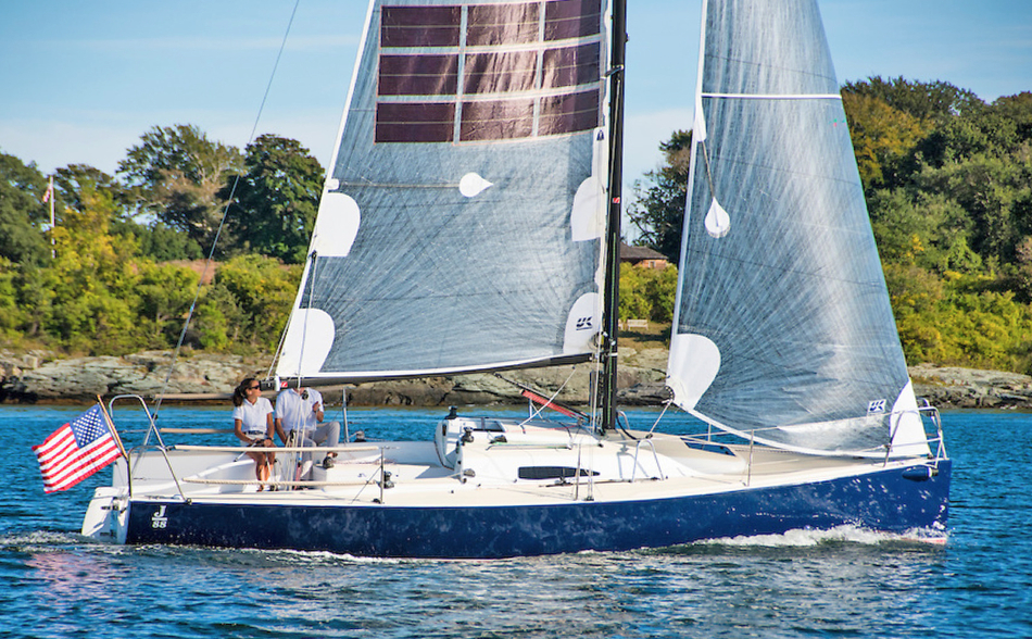 J/88 Oceanvolt solar sailing with solar and hydro power