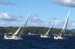 J/80s sailing upwind- J/Jamboree- Winnipesaukee, NH