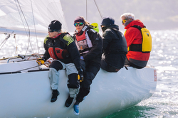 Women crew sailing fast on J/22s