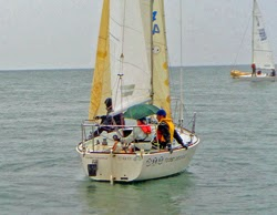 J/24s Australia- sailing under umbrellas