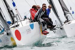J/88 polka dots sailing Round Island Race