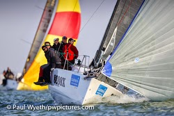 J/88 sailing on Solent off Cowes, England
