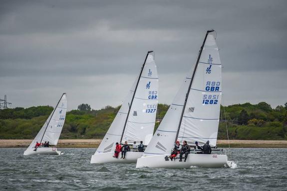 J/70s sailing Warsash Spring Series- Solent, England