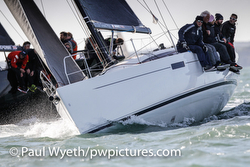 J/112E sailing Hamble Series on Solent, England