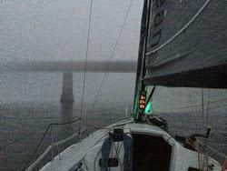 J/111 sailing through fog off Denmark