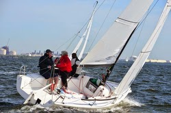 J/70 sailing upwind off Tampa, Florida