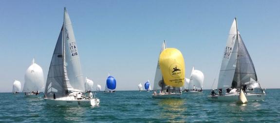 J/24s sailing Italian Championship off Cervia, Italy