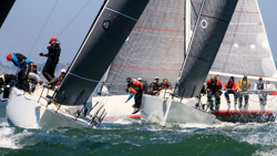 J/111s sailing upwind at Worlds