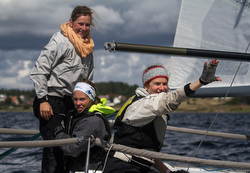 Women's J/24 team at Europeans in Sweden