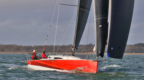 J/99 reaching with Code Zero and jib off Hamble, England