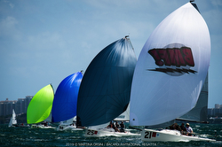 J/70s sailing downwind at Bacardi Cup